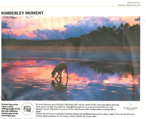 Kimberley Moment nel Broome Advertiser, 20 feb 2014